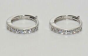 9ct White Gold Diamond Huggie Hoop Cuff Earrings