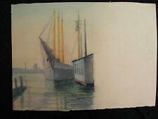W. Reginald Watkins (1890-1985) - Listed - Harbor Ship England ? Watercolor #6