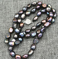25inches Rare! 9-10MM black Akoya Cultured Pearl Baroque Necklaces