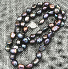 New Rare! 9-10MM black Akoya Cultured Pearl Baroque Necklace 18""