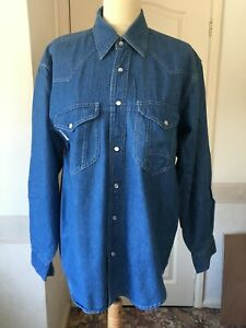 western denim shirt Vintage 80s retro S pearl buttons Americano line dancing
