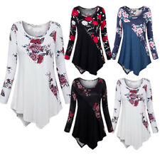 Womens Floral Long Sleeve Blouse Tunic Tops Ladies Boho Casual Loose T-shirts