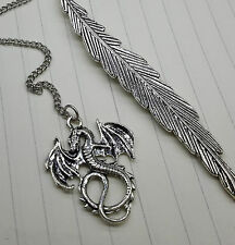 Gothic Fantasy Targaryen Dragon Antique Silver Feather Bookmark Jewelry Gift