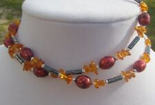 Amber Chip, Hematite, and Red Freshwater Pearl Handmade Beaded Necklace
