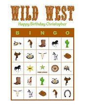 Wild West/Cowboy/Horse Birthday Party Game Bingo