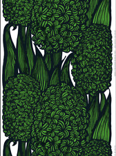 Marimekko Green Hyasintti fabric half yard cotton green black very retro Finland