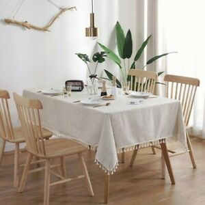 Linen Table Cloth Modern Style Tablecloth Tassels Wedding Party DecorRectangular