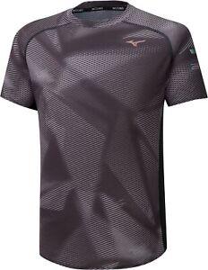 Mizuno Aero Graphic Short Sleeve Mens Running Top  - Black