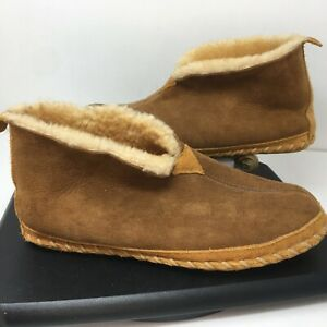 LL Bean Mens 11 Wicked Good Brown Suede Leather Shearling Moccasins Slippers