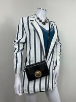 Zara Jacket Large Blue White Stripe Blazer Fits UK 12 14 Nautical Smart Casual