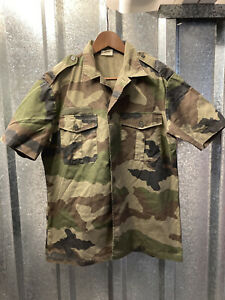 French Mens 2006 Camouflage Green Army CCE Military Short Sleeve Shirt Medium