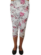 Kurze Damen Leggings Blumenmuster Größe 46 48 50 52 54 Übergröße Blumen 114
