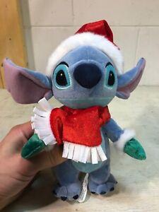 "Santa Stitch Bean Bag 2008 Walt Disney World Parks Plush Doll Toy Lilo 8"" Tall"