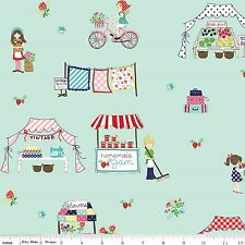 Vintage Market  Fabric in Mint   by Riley Blake 100% Cotton  FQ 50cm x 55cm