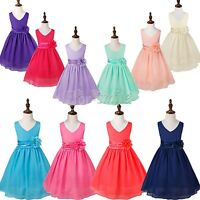 Flower Girl Birthday Pageant Wedding Party Formal Princess Kids Dress Size 2-14