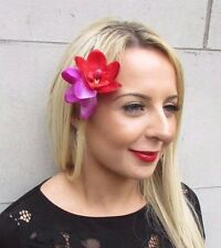 Red Magenta Purple Double Orchid Flower Hair Clip Rockabilly 50s Fascinator 3479