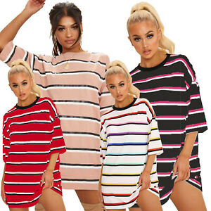 Ladies Women Over Size 3/4 Sleeves Stripe Baggy Round Neck Tshirt Tops
