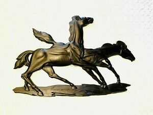 VTG Wild Horses Stallions Galloping Solid Wood Hand Carved Wall Art Sculpture OH