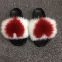 2019 Luxury Women's Fluffy Real Fox Fur Sandal Shoes Flat Slides Indoor Slippers