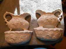 DECORAMA  White Porcelain Wall Pocket Planter Vase Wash Pitcher & Basin -  Japan