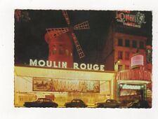 Paris La Nuit Le Moulin Rouge France Postcard 931a
