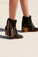 Jeffrey Campbell Free People Meadow Fields Boots Black Suede Fringe Womens 5 New