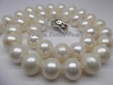 """Large 18"""" Inch 10-11mm White Pearl Strand Necklace Cultured Freshwater"""