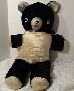 """Vintage Black and White Bear Googly Eyes Rubber Face Stuffed Plush 24"""""""
