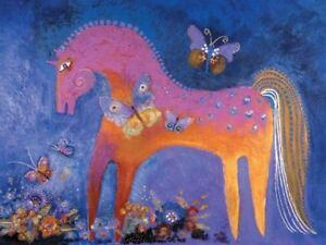 """Laurel Burch Card  Birthday """"Mystical Mare""""  Horse With Envelope"""