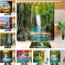 Summer Forest Waterfall Shower Curtain Set Waterproof Fabric Bathroom w/12 Hooks
