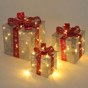 3 Pre Lit Warm White LED Light Up Parcel Gift Box Present Christmas Decoration