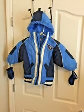TENNESSEE TITANS TODDLER 2T HOODED WINTER COAT WITH MITTENS