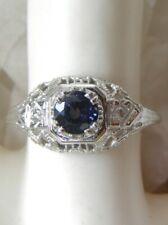 1930s ANTIQUE 18KT WG GENUINE SAPPHIRE DIAMOND FILIGREE ART DECO ENGAGEMENT RING