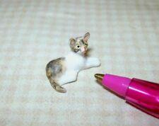 Miniature Teeny Tiny Laying Resin Kitten, CALICO TABBY for DOLLHOUSE 1:12