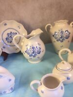 8 piece set Vintage CROWNING TOUCH Hallmark Blue Rose Collection  #74