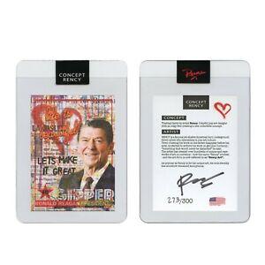 RONALD REAGAN President Rency Pop Art DIAMOND DUST Trading Card Signed S/N 300