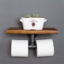 Double Toilet Paper Holder Urban Industrial Iron Pipe Wall Mount with Wood