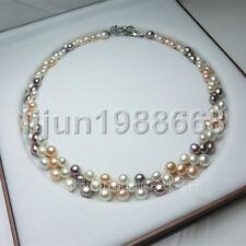 Nouveau femmes 3 rangées blanches violet rose perle de culture Akoya collier AAA
