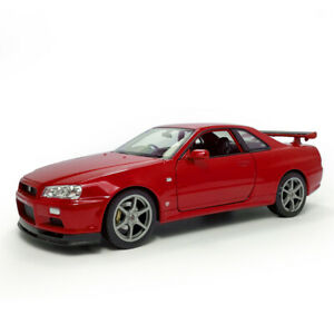 1:24 Nissan Skyline GT-R (R34) Sports Car Model Car Diecast Vehicle Gift Red