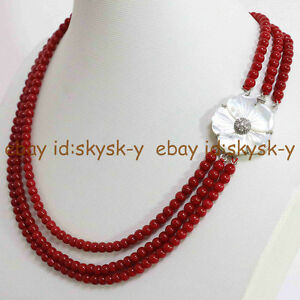 Narutal 3 row 6mm Red coral round beads necklace  shell shell buckle 18-20 Inch