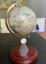 "Mother of Pearl Globe  Gemstone Inlay On wood Stand W/ Working clock  8.5""Tall"