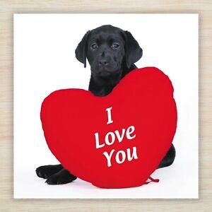 Beautiful Birthday Card - Black Labrador & Red Heart - I Love You plus Freepost!
