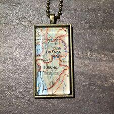 BUJUMBURA BURUNDI RWANDA EAST AFRICA Map Pendant Bronze necklace ATLAS F04