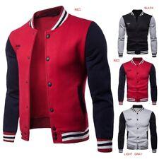 Men's Fashion Fleece Stand Collar Contrast Color Baseball Uniform Sweater Jacket