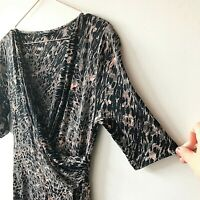 M&S Wrap Animal Print Drape Grey Pink Dress 10 smart Work Career Slinky Stretch