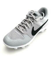 Nike Youth Alpha Huarache Varsity Molded Baseball Cleats Size 4.5Y Gray/White
