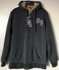 Trademark Lada Men's Faux Fur Lining Zip Up Thick Hooded Jacket Size L NWT