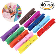40Pcs Colorful Wood Clothespins Wooden Laundry Clothes Pins Large Spring 2.9inch