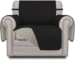 Easy-Going Reversible Couch Cover for Pet Protector Quilted (CHAIR, Black/Beige)