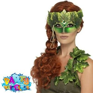 Adult Poison Ivy Forest Nymph Eye Mask Ladies Halloween Fancy Dress Accessory